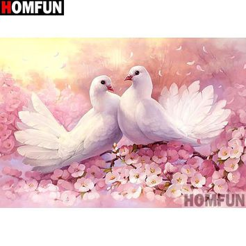5D Diamond Painting Two White Doves in Pink Flowers Kit
