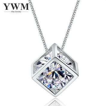 YWM Real Pure 925 Sterling Silver Love Window Necklace Square Zircon Necklace with High-grade Crystal Pendant for Women Girls