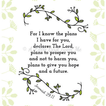 """Jeremiah 29:11 Print. """"I have plans for you"""". Christian Scripture Gifts. Botanical Wall Art. Green."""