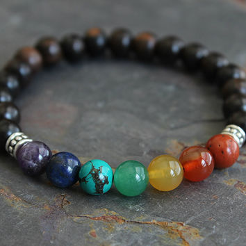 Mens Bracelet Yoga Bracelet 7 Chakra Bracelet Chakra Meditation Chakra Jewelry Energy Bracelet for Man Boyfriend Bracelet for HimYoga Gifts