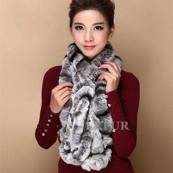 VONESC6 Fashion Womens Real Knitted Rex Rabbit Fur Scarves Natural Fur Neckerchief Winter Long Wraps LX00520