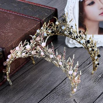 Baroque Retro Bride Crown Crystal Handmade Classic Pink Bride Headdress for women