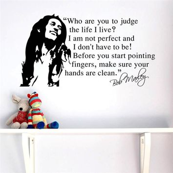 FAMOUS music star Bob Marley quotes home decals poster art Diy kids room wall stickers decoration for music party 2 sizes