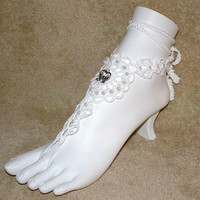 Barefoot Wedding Sandals with Doves in the by gilmoreproducts33