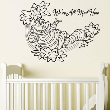 Cheshire Cat Wall Decal Quote Alice In Wonderland Wall Sticker Removable Kids Bedroom Wallpaper Cartoon Wall Mural Poster AY966