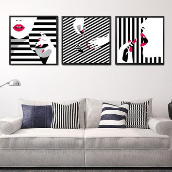 Print HD Painting Picture Nordic Poster Home Decoration Black And White Stripe Lip Nail Polish Canvas Modern Style Wall Art
