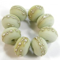 Opaque Pale Olive Green Handmade Lampwork Glass Beads 1448c Shiny (Choices of Etched, .999 Fine Silver, Shapes, Sizes, Large Hole Beads Extra)