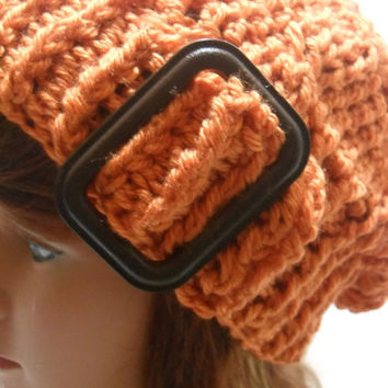 Crochet Cabled Orange Buckle Slouchy Beanie Hat