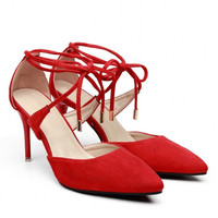 Red Pointed Toe Lace Stiletto Heels