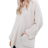 V-Neck Knitted Pullover Sweater with Pockets in White or Burgundy