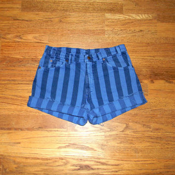 Vintage Denim Cut Offs - Vintage 80s Dark Wash STRIPED Blue Jean Shorts - Cut Off/Frayed SHORT Shorts by Levis - Size Misses 14
