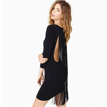 Winter Women's Fashion Long Sleeve Slim Skirt Sexy Backless Tassels Pen Dress One Piece Dress [6339042945]