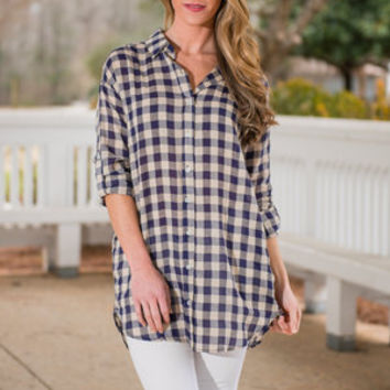 All Checked Out Top, Navy