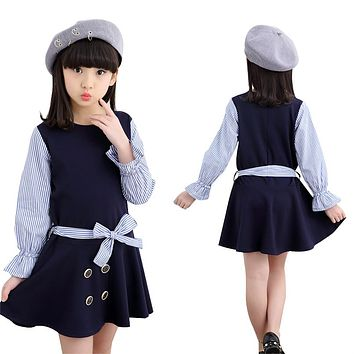 Girls Princess Party Dresses 4 Long Sleeve Striped Kids Dresses For Girls 6 Preppy Style Bottoming Dress 8 Ball Gowns