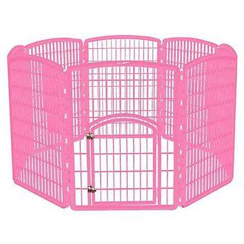 Iris Pink Eight Panel Pet Containment Pen with Door | Petco