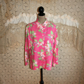 Plus Size 16 Linen Shirt Pink Floral Blouse Tropical Orchid Print Hawaiian Long Sleeve Button Up Tunic Casual Clothing XL Womens Clothing