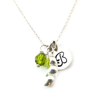 Pea Pod Charm - Personalized Sterling Silver Necklace