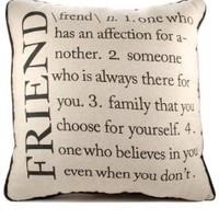 The Definition of Friend - Natural Color Cotton Throw Pillow 14x14
