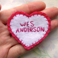 WES ANDERSON Felt Heart Patch in Pink