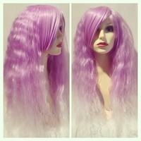 Lilac Clouds, Lilac White Purple Dip Dye Ombre Gradient Crimped Wavy Gothic Lolita Cosplay Wig