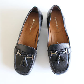 Size 8.5 Womens Tassel Loafers Naturalizer Black Genuine Leather Slip Ons Womens Dress Shoes 90s Vintage #S041A