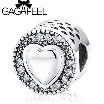 GAGAFEEL Europe Popular Love Charm Beads Fit Pandora Bracelet Bangle Necklace Crystal Hollow Heart Beads DIY Jewelry For Women