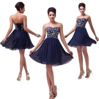 New BEADED Short Formal Homecoming Prom Ball Gown Cocktail Party Evening Dresses