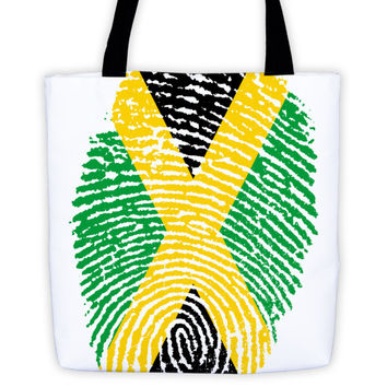 "Jamaican Fingerprint Flag Tote Bag - 15""x15"""
