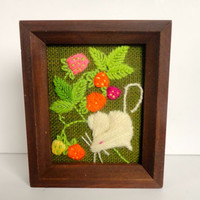 Needlework Picture Crewel Art Mouse with Strawberries Picture Wood Frame