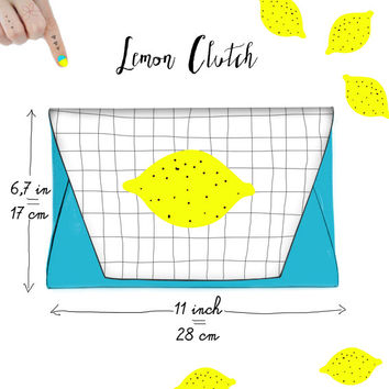 Lemon faux Leather Clutch Sketchy Notebook Squared Pattern Chic Lightblue Purse With Magnetic Snap Closure