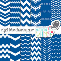 Royal Blue Chevron Digital Paper Pack – blue and white seamless chevron paper - seamless patterns for scrapbooking and graphic design –CU OK