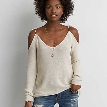 AEO Cold Shoulder Tie Pullover, Gray