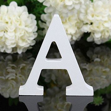 Decorative Wood Letters,Totoo Hanging Wall 26 Letters Wooden Alphabet Wall Letter for Children Baby Name Girls Bedroom Wedding Brithday Party Home Decor-Letters (A)