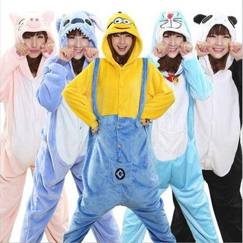 DCCKU62 Hot Unisex Adult Flannel Pajamas Adults Cosplay Cartoon Cute Animal Pyjama Sets Sleepwear