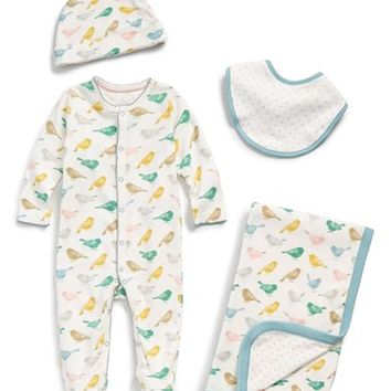 Infant Mini Boden One-Piece, Bib, Hat & Blanket Set