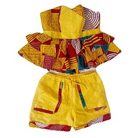 FYNN Yellow And Red African Short Set