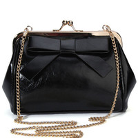Ribbon Chain Strap Leather Purse Shoulder Bag
