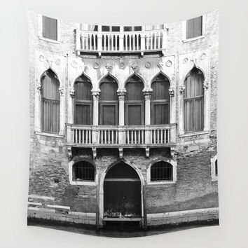 Venice Wall Tapestry - Italy Photography - Venice Tapestry - Black and White Venice - Wall Decor - Venice Wall Art - Italy Wall Art - Venice