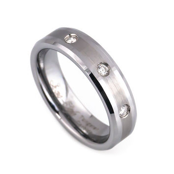 Three diamonds tungsten wedding band for men and women
