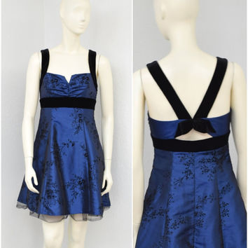 Vintage 90s Does 50s Dark Blue Taffeta Party Dress, Velvet Bow Floral Print, Rockabilly Dress, Halter Dress, Prom Dress, Short Formal Dress
