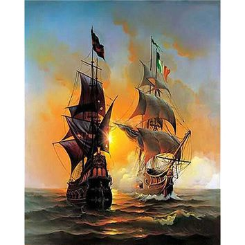 Seascape Sailing Boat Painting By Numbers DIY Coloring By Numbers On Canvas 40*50cm Pinturas Al Oleo Home Cuadros Decoracion