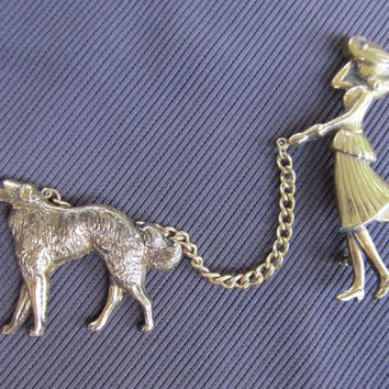 CORO 1950s Woman Walking Dog Brooch