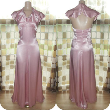 Vintage 70s Retro 30s Liquid Pink Satin Ruffle Neckline Evening Gown Gatsby Formal Dress XS/ S