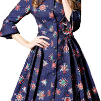 Blue Floral Print Button Down Pleated Dress