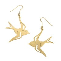 81stgeneration Pair earrings swallow dangle vintage design brass gold