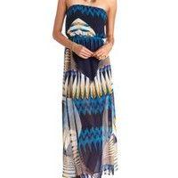 Art Deco Print Strapless Maxi Dress by Charlotte Russe - Blue Combo