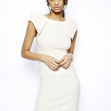 Vesper Sexy Pencil Dress with Asymmetric Shoulder Detail