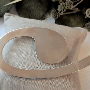 Vintage Mexico Large Sterling Silver Modernist Minimalist Swirl Brooch/Pin