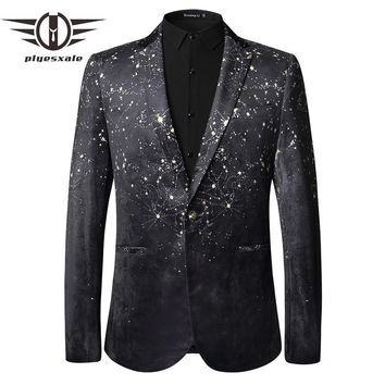 Casual Men Blazers Autumn Black Velvet Blazer Jacket Slim Fit Single Button Prom Stage Wear Clothing