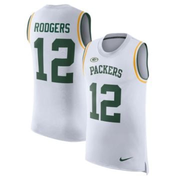 KUYOU Green Bay Packers Jersey - Aaron Rodgers White Limited Player Tank Top